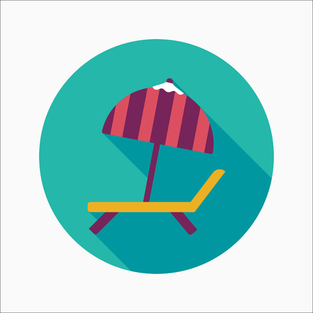 brolly: Lounger Beach Sunbed Chair flat icon with long shadow