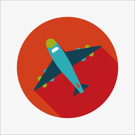 flight steward: airplane flat icon with long shadow