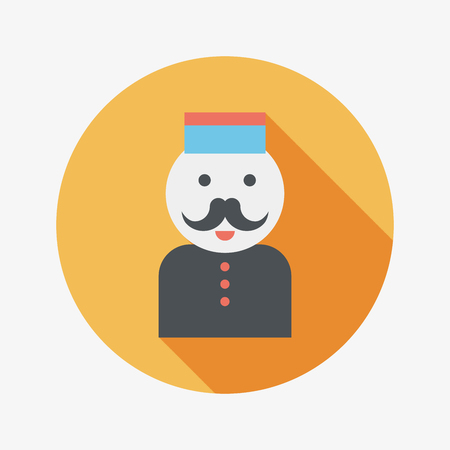 porter: Hotel bellhop flat icon with long shadow