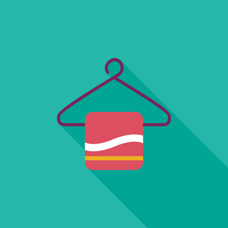 TOWEL HANGER flat icon with long shadow Vector