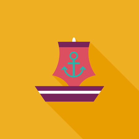 Sailboat flat icon with long shadow Vector