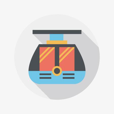 streetcar: icono plano de tranv�a con larga sombra