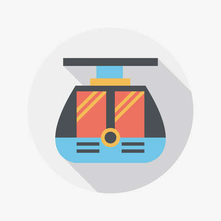 streetcar: tram flat icon with long shadow