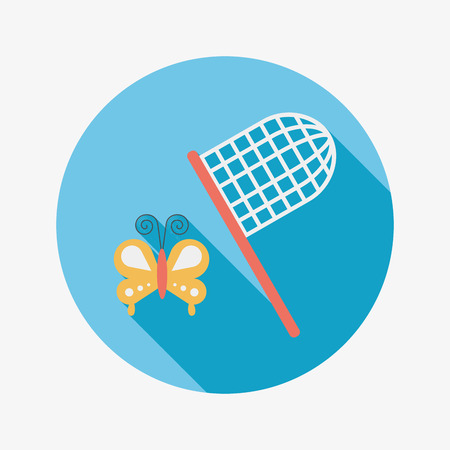 net: butterfly net flat icon with long shadow