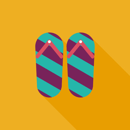 thongs: flip flop flat icon with long shadow Illustration