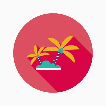 Palm tree flat icon with long shadow
