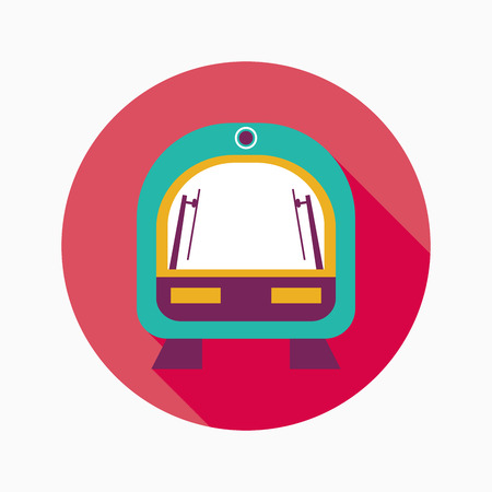 intercity: speed train flat icon with long shadow