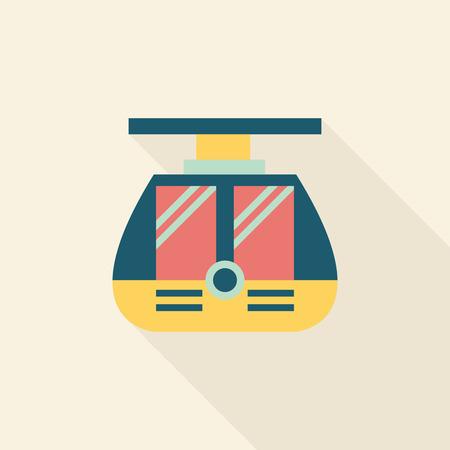 tramcar: tram flat icon with long shadow