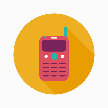 Mobile phone flat icon with long shadow Stock Vector - 30797573