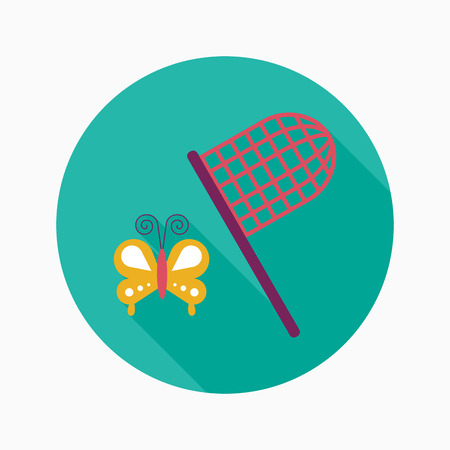 butterfly net flat icon with long shadow Vector