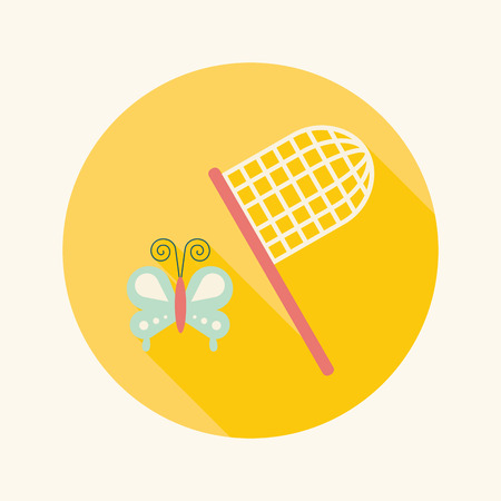 entomologist: butterfly net flat icon with long shadow