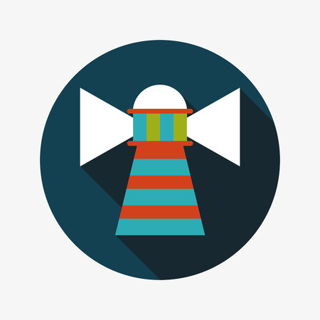 coast guard: Lighthouse flat icon with long shadow