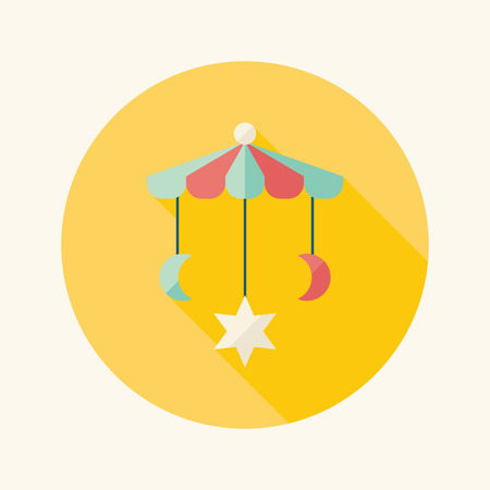 bebe cuna: Cuna colgar icono plana juguete con larga sombra