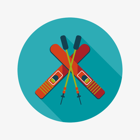 slope: ski and sticks flat icon with long shadow Illustration