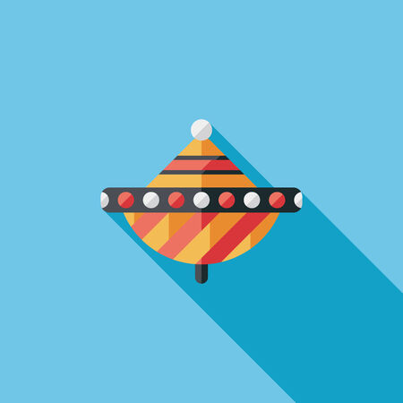 spinning top: peg top flat icon with long shadow Illustration
