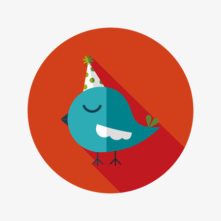 bird with birthday hat flat icon with long shadow Vector