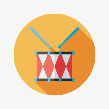 drumming: drum flat icon with long shadow Illustration