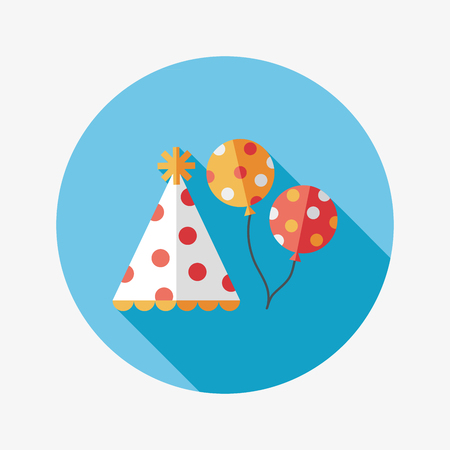 flying hat: Birthday hat and balloons flat icon with long shadow