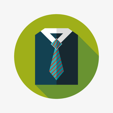 fastener: business shirt and tie flat icon with long shadow Illustration