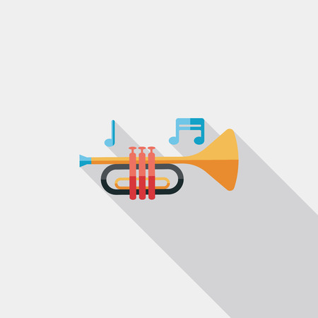 trumpet or horn flat icon with long shadow Иллюстрация