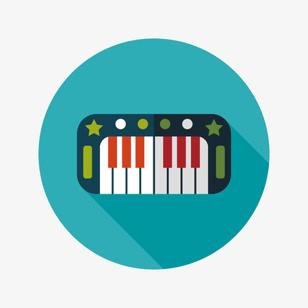 ebony: piano flat icon with long shadow,eps10 Illustration