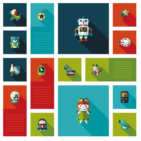 robot with shield: kid toy flat ui background set Illustration