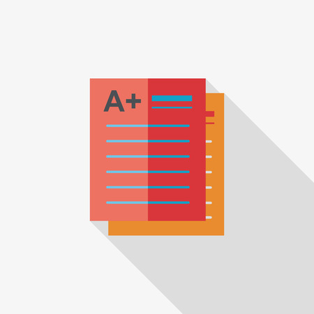 school background: A plus grade in the notebook,flat icon with long shadow Illustration