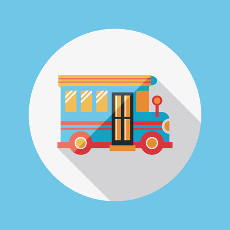 School Bus flat icon with long shadow Vector