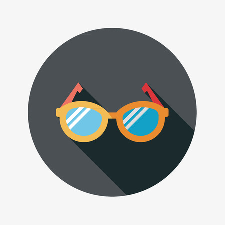 corrective: Glasses flat icon with long shadow