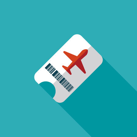 Air ticket flat icon with long shadow Vector