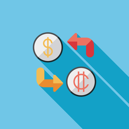 converter: Currency exchange flat icon with long shadow