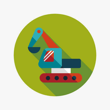 navvy: Excavator digger flat icon with long shadow