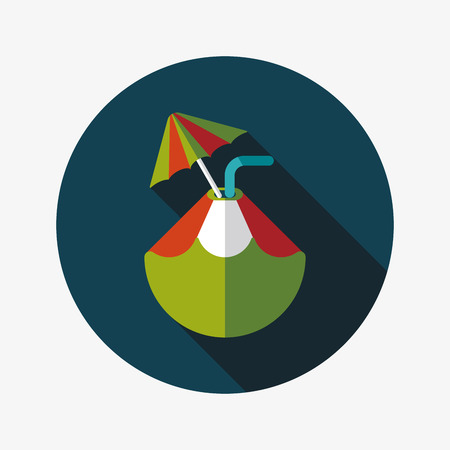 Coconut Water Drink , flat icon with long shadow Vector