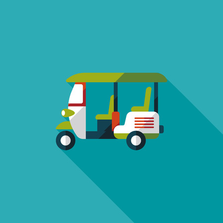 mototaxi: Three wheeled motor rickshaw, flat icon with long shadow