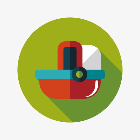 baby cradle bed flat icon with long shadow Vector