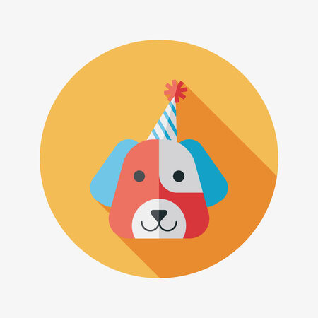 dog birthday flat icon with long shadow Ilustrace