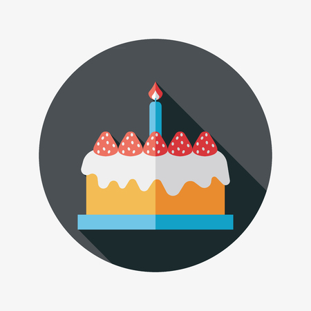 wedding cake illustration: birthday cake flat icon with long shadow Illustration