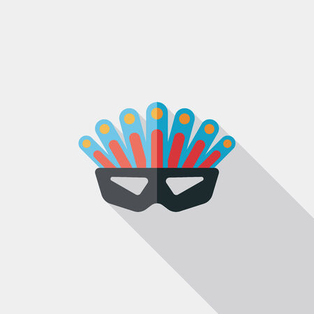 decoration decorative disguise: party mask flat icon with long shadow Illustration