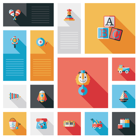 rattles: child toy flat ui with long shadow Illustration
