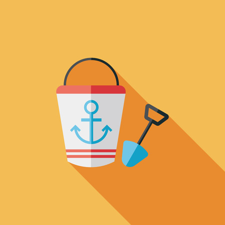 sandbox: Toys for sand flat icon with long shadow Illustration