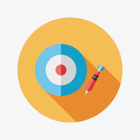 Darts target flat icon with long shadow