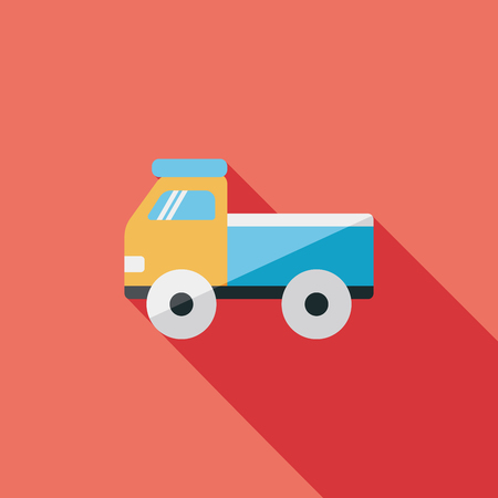 Truck flat icon with long shadow Vector