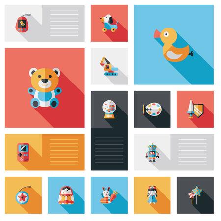 kids and toys: kid toy flat ui background set Illustration