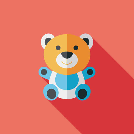 bear silhouette: teddy bear flat icon with long shadow Illustration