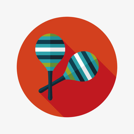 wooden rattle flat icon with long shadow Vector