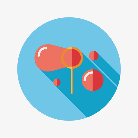 blowing bubbles: bubbles flat icon with long shadow Illustration
