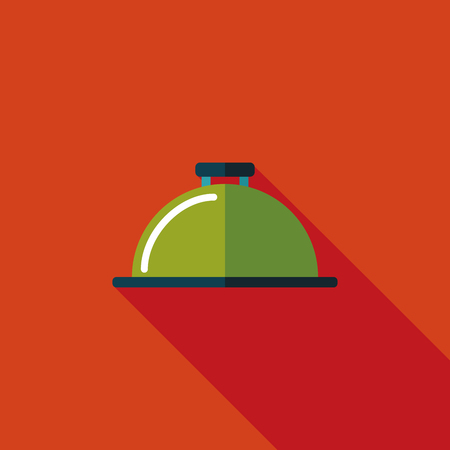 Restaurant cloche flat icon with long shadow Vector