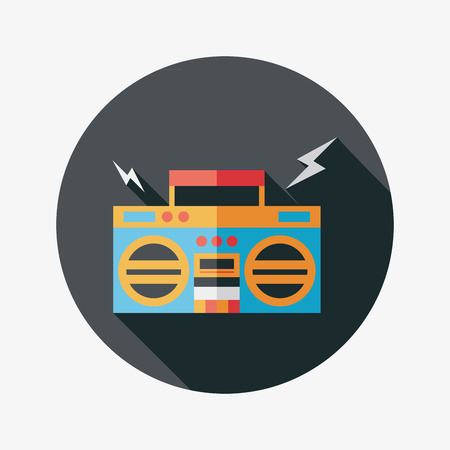 ghetto blaster audio flat icon with long shadow,eps10 Vector