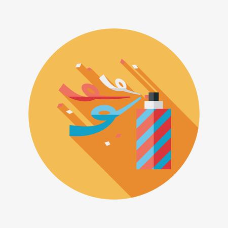 parade confetti: icono plana confeti con larga sombra Vectores