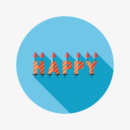 Birthday candles flat icon with long shadow 向量圖像